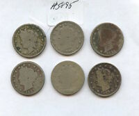 SIX DIFF 1880S LIBERTY NICKELS 5895 BOTH 1883S, 1884, 1887-89. LOW GRADE COIN