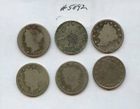 SIX DIFF 1880S LIBERTY NICKELS 5892 BOTH 1883S, 1884, 1887-89. LOW GRADE COIN