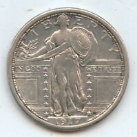 1917-D T1 STANDING LIBERTY 25C 7665 EXTRA FINE -AU. CLEANED. DECENT STRIKE.
