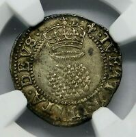 NGC AU 55. STUART. JAMES I. 2 PENCE. SON OF MARY QUEEN OF SCOTS. ENGLAND SILVER