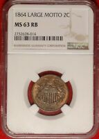 RPD 1864 2C NGC MINT STATE 63 RB FS-1304 EDS UNCIRCULATED RED BROWN TWO CENT PIECE COIN