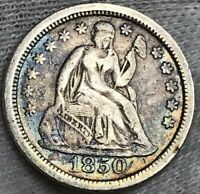 1850 SEATED LIBERTY DIME VF BEAUTIFUL BLUE TONING GREAT COLLECTORS COIN