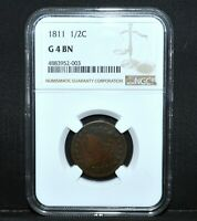 1811 1/2 HALF CENT  NGC GOOD G-4   CLASSIC HEAD G04 CHOICE  NOW TRUSTED