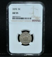 1870 SHIELD NICKEL  NGC AU-55  5C ALMOST UNCIRCULATED ABOUT  NOW TRUSTED