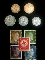 WW2 AUTHENTIC  GERMAN COINS AND UNUSED STAMPS WORLD WAR 2 ARTIFACTS