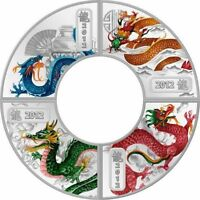 COOK ISLANDS 2012 LUNAR THE YEAR OF THE DRAGON 4 X1/2 OZ SIL