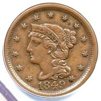 1849 ANACS EF 45 BRAIDED HAIR LARGE CENT COIN 1C