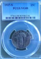 1927 S STANDING LIBERTY QUARTER PCGS VG 08 396K MINTAGE  KEY DATE