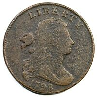 1798 S 176 R 4 2ND HAIR SMALL 8 DRAPED BUST LARGE CENT COIN
