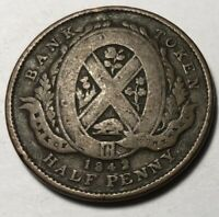 PROVINCE OF LOWER CANADA  BANK OF MONTREAL  1842 HALF PENNY