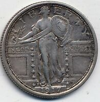 1917-S T-1 EXTRA FINE -AU  FINE - ABOUT UNCIRCULATED, STANDING LIBERTY QUARTER