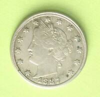 1887 P LIBERTY HEAD V NICKEL, AU ABOUT UNCIRCULATED,  GOOD COIN