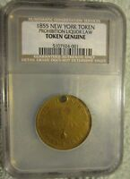 JULY 4, 1855 NEW YORK PROHIBITION TEMPERENCE TOKEN MEDAL, NCS CERTIFIED HXCD