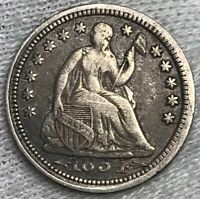 1854 ARROWS SEATED LIBERTY HALF DIME VF ERROR- DATE OVERLAPS BASE OF LIBERTY
