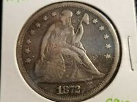 1872 SEATED LIBERTY SILVER DOLLAR, FULL DATE, PARTIAL LIBERTY      S912