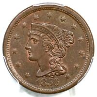 1856 N-16 R-2 PCGS MINT STATE 62 BN SLANTED 5 BRAIDED HAIR LARGE CENT COIN 1C