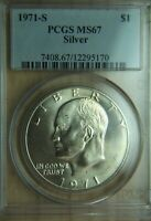 1971-S EISENHOWER IKE 40 SILVER DOLLAR - PCGS MINT STATE 67
