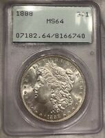1888 S$1 OLD GREEN HOLDER P OGH MORGAN SILVER DOLLAR PCGS MINT STATE 64 RATTLER WHITE BU
