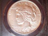 1934-S PEACE DOLLAR, ANACS AU 53, CIRCULATED CIRCULATION STRIKE