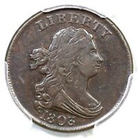 1803 C-1 PCGS EXTRA FINE  45 CAC DRAPED BUST HALF CENT COIN 1/2C