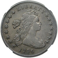 1796 DRAPED BUST DOLLAR, SMALL DATE, LARGE LETTERS, B-4, BB-61, R3, NGC VF35