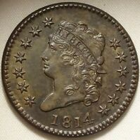 1814 1C CLASSIC HEAD VARIETY S-295 LARGE CENT HOICE  FINE TONED COPPER