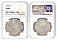 1888-O MORGAN SILVER DOLLAR NGC MINT STATE 63 MINT STATE BRILLIANT UNCIRCULATED UNC 7007
