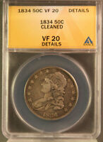 1834 US CAPPED BUST HALF DOLLAR GRADED VF 20 DETAILS & ENCAPSULATED BY ANACS