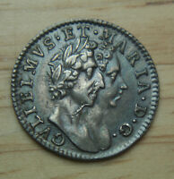 1689 GREAT BRITAIN 4 PENCE KM 471.1   4P GROAT SILVER COIN