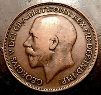 1915 GEORGE V ONE PENNY UNITED KINGDOM GREAT BRITAIN   LARGE CENT