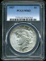 1927 $1 PEACE DOLLAR MINT STATE 63 PCGS 37626765