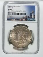 1884 O/O NGC MINT STATE 65 VAM-10 MORGAN SILVER DOLLAR HOT-50 GENE L.HENRY PEDIGREE GOLD