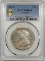 1928 HAWAIIAN COMMEMORATIVE HALF DOLLAR PCGS MINT STATE 64 PLEASING ORIGINAL