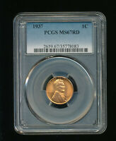 1937-P LINCOLN WHEAT CENT CENT 1C PCGS MINT STATE 67 RED RD TYPE 1, WHEAT REVERSE