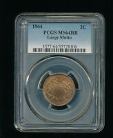 1864-P LARGE MOTTO TWO CENT PIECE 2C PCGS MINT STATE 64 RED BROWN RB