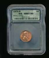 1970-S SMALL DATE LINCOLN MEMORIAL PENNY CENT ICG 1C ICGS MINT STATE 67 RED RD