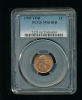 1909-P VDB LINCOLN WHEAT CENT CENT 1C PCGS MINT STATE 64 RED BROWN RB