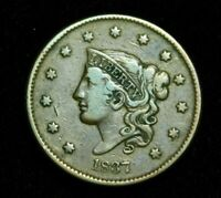 1837 CORONET YOUNG HEAD LARGE CENT - 07008