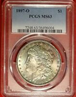 1897-O $1 PCGS MINT STATE 63 CHOICE UNCIRCULATED MORGAN DOLLAR RAINBOW COLOR TONED TONING