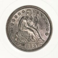1853 SEATED LIBERTY 10C PCGS CERTIFIED MINT STATE 64 W/ ARROWS