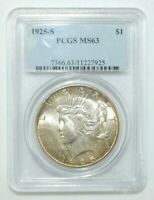 1925-S PEACE $1 SILVER DOLLAR PCGS CERTIFIED MINT STATE 63 M165