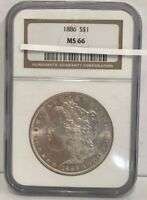 1886 S $1 MINT STATE 66 NGC  MORGAN SILVER COIN
