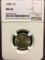 1888 5C LIBERTY NICKEL NGC MINT STATE 64 GRADED