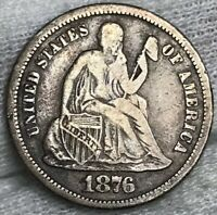 1876-S SEATED LIBERTY DIME FINE DECENT COIN