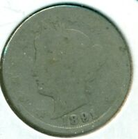 1891 LIBERTY HEAD NICKEL, ABOUT GOOD, GREAT PRICE
