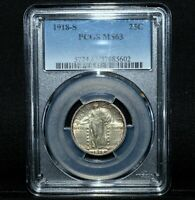 1918-S STANDING LIBERTY QUARTER  PCGS MINT STATE 63  25C SILVER UNC CH-BU TRUSTED