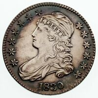 1830 BUST HALF DOLLAR IN EXTRA FINE  CONDITION,  DETAIL ON BOTH SIDES, BOOK TONING