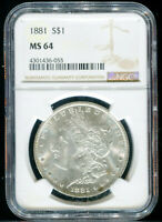 1881-P MORGAN DOLLAR NGC MINT STATE 64 MINT STATE 64