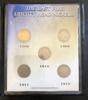 THE LAST FIVE LIBERTY HEAD NICKELS 1908-1912 BOOKLET 5 COIN SET