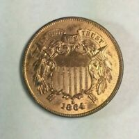 1864 TWO CENT PIECE   UNC DETAILS   LUSTER   RAW SKU5141